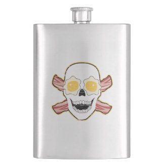 Bacon and Egg Skull Hip Flask