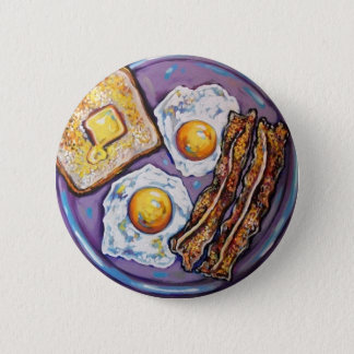 BACON AND EGGS 6 CM ROUND BADGE