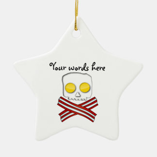 Bacon and eggs skull and crossbones christmas ornament