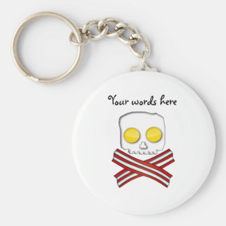 Bacon and eggs skull and crossbones key ring