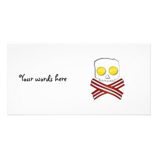 Bacon and eggs skull and crossbones picture card