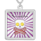 Bacon and eggs skull and crossbones purple stripes silver plated necklace