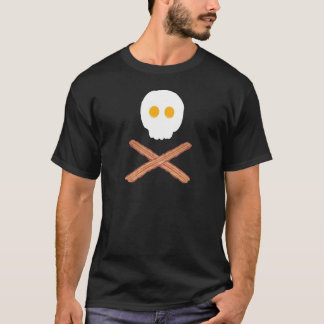 Bacon and eggs skull and crossbones t-shirt