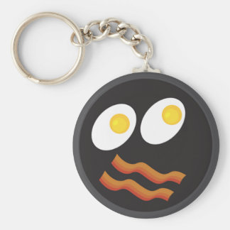 bacon and eggs smiley face key chain