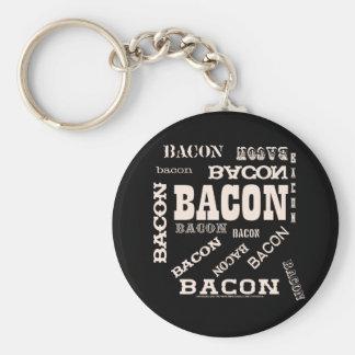 Bacon Bacon Bacon Basic Round Button Key Ring
