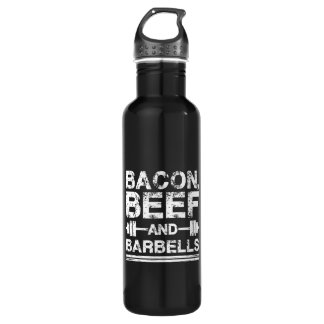 Bacon, Beef, Barbells - Gym Workout Motivational 710 Ml Water Bottle
