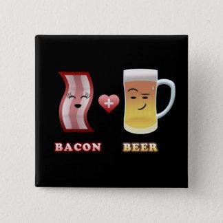 Bacon + Beer In Love (black bkgd) 15 Cm Square Badge