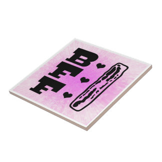Bacon Best Friends Forever BBFF Small Square Tile