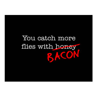 Bacon Catch More Flies Postcard
