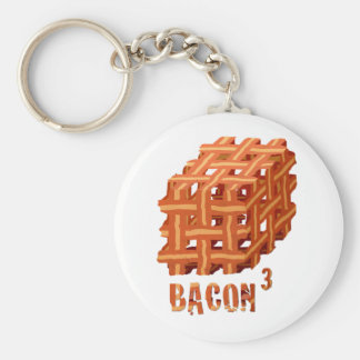 Bacon Cubed Basic Round Button Key Ring