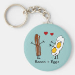 Bacon + Eggs Basic Round Button Key Ring