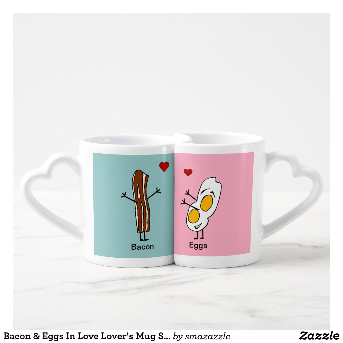 Bacon & Eggs In Love Lover' Mug Set