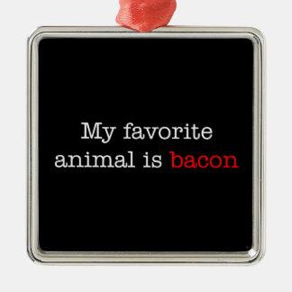 Bacon Favorite Animal Square Metal Christmas Ornament