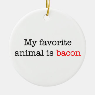 Bacon Favorite Animal Double-Sided Ceramic Round Christmas Ornament