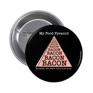 Bacon Food Pyramid 6 Cm Round Badge
