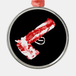 Bacon Gun Silver-Colored Round Decoration