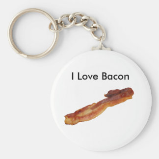 bacon, I Love Bacon Basic Round Button Key Ring