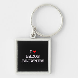 Bacon I Love Brownies Silver-Colored Square Key Ring