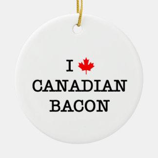 Bacon I Love Canadian Round Ceramic Decoration