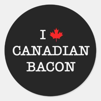 Bacon I Love Canadian Round Sticker