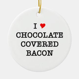 Bacon I Love Chocolate Round Ceramic Decoration