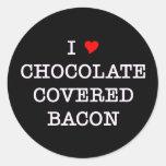 Bacon I Love Chocolate Round Stickers