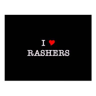 Bacon I Love Rashers Postcard
