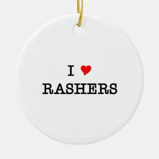 Bacon I Love Rashers Round Ceramic Decoration