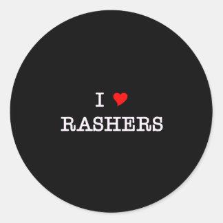 Bacon I Love Rashers Round Sticker