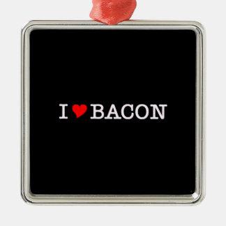Bacon I Love Silver-Colored Square Decoration