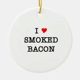 Bacon I Love Smoked Round Ceramic Decoration