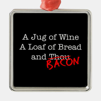 Bacon Jug of Wine Square Metal Christmas Ornament