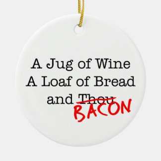 Bacon Jug of Wine Double-Sided Ceramic Round Christmas Ornament