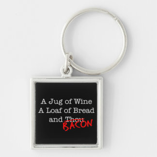 Bacon Jug of Wine Silver-Colored Square Key Ring