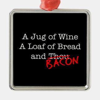 Bacon Jug of Wine Silver-Colored Square Decoration