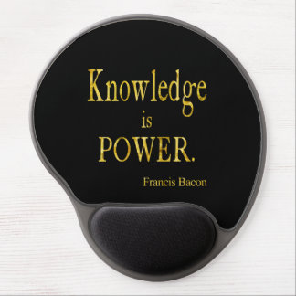 Bacon Knowledge is Power Quote Gold Faux Glitter Gel Mouse Pad
