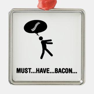 Bacon Lover Silver-Colored Square Decoration