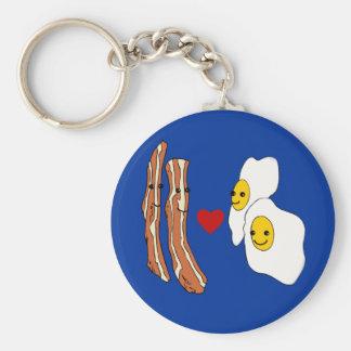 Bacon Loves Eggs Funny Bacon Design Key Ring