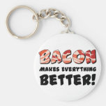 Bacon makes everything better basic round button key ring