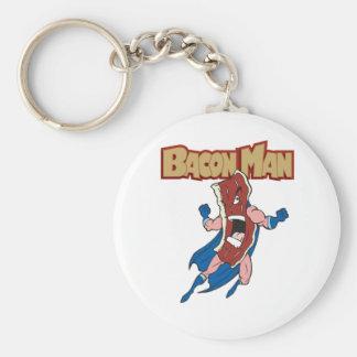 Bacon Man Basic Round Button Key Ring