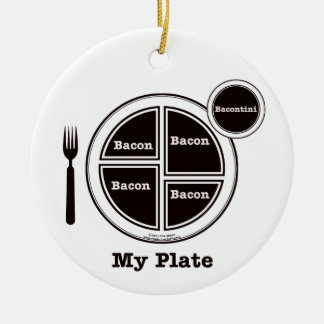 Bacon My Plate Double-Sided Ceramic Round Christmas Ornament