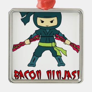 Bacon Ninja Silver-Colored Square Decoration