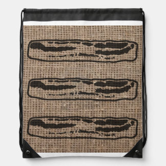 Bacon over Burlap Drawstring Backpacks
