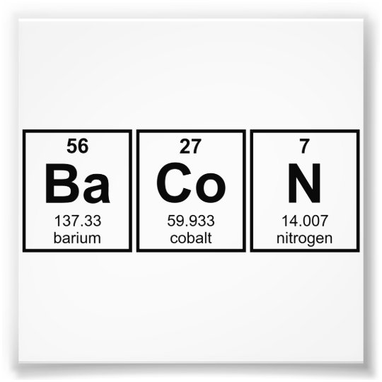 Bacon Periodic Table Element Symbols Photo Print