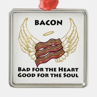 Bacon Silver-Colored Square Decoration