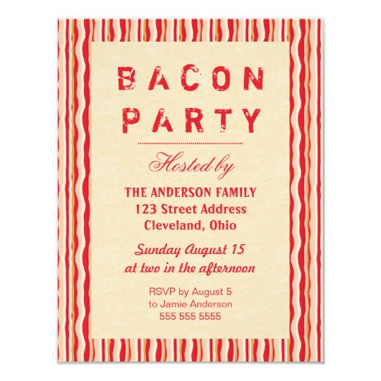 Bacon Strips Party Invitation Typography
