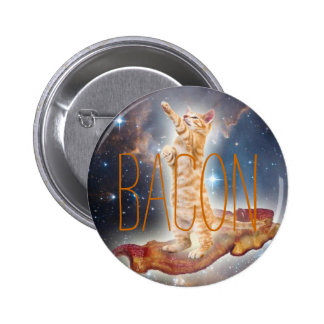 Bacon Surfing Cat 6 Cm Round Badge