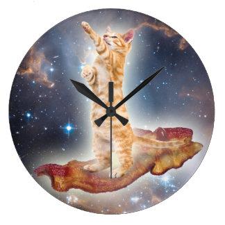Bacon Surfing Cat Clock