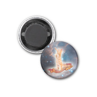 Bacon Surfing Cat in the Universe 3 Cm Round Magnet