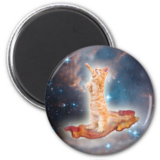 Bacon Surfing Cat in the Universe 6 Cm Round Magnet